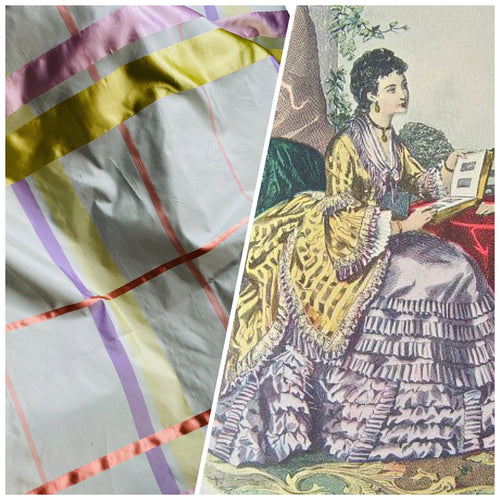 NEW Duchess Philippa 100% Silk Taffeta Plaid Tartan with Satin Ribbon Stripes in Light Blue, Lavender, Salmon, and Pink
