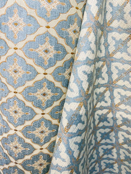 NEW Chenille Velvet Fancy Diamond Motif Duck Egg Blue, Yellow, and Cream Fabric