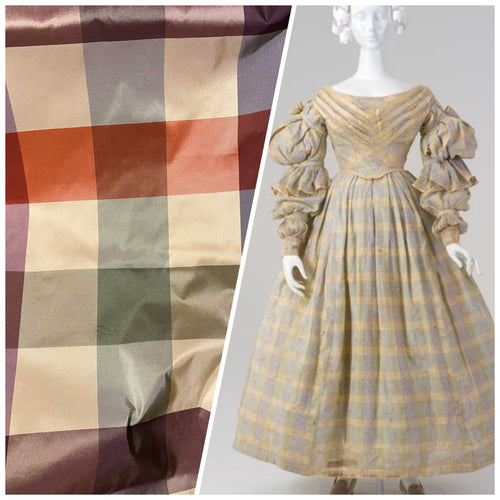 New Lady Emma 100% Silk Taffeta Plaid Tartan Check Autumn Rainbow Fabric