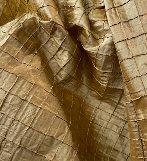 NEW Lady Morgan 100% Silk Dupioni Fabric with Pintucked Squares in Gold