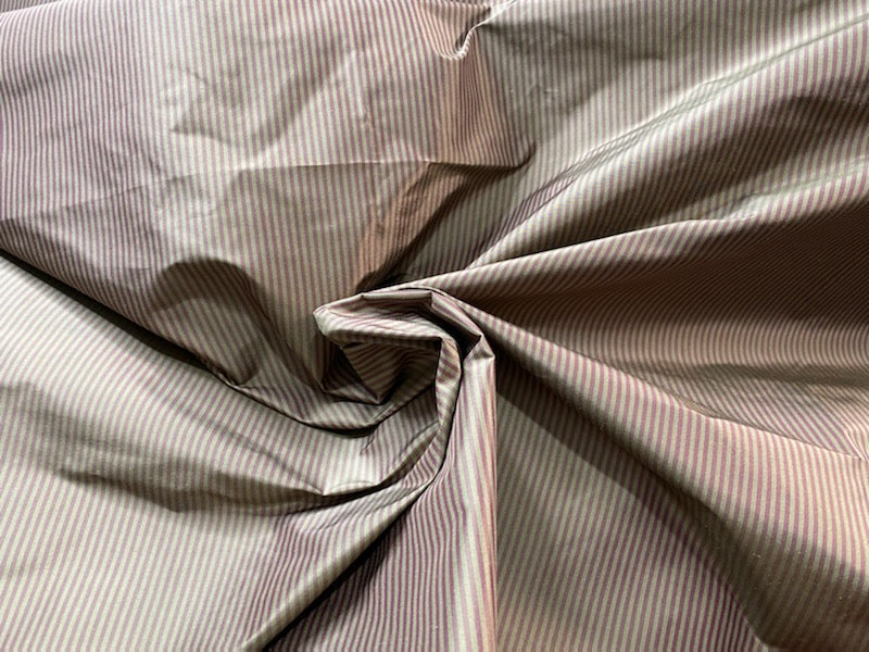 NEW Lady Bernadette 100% Silk Taffeta Fabric with Burgundy Red and Sage Green Stripes