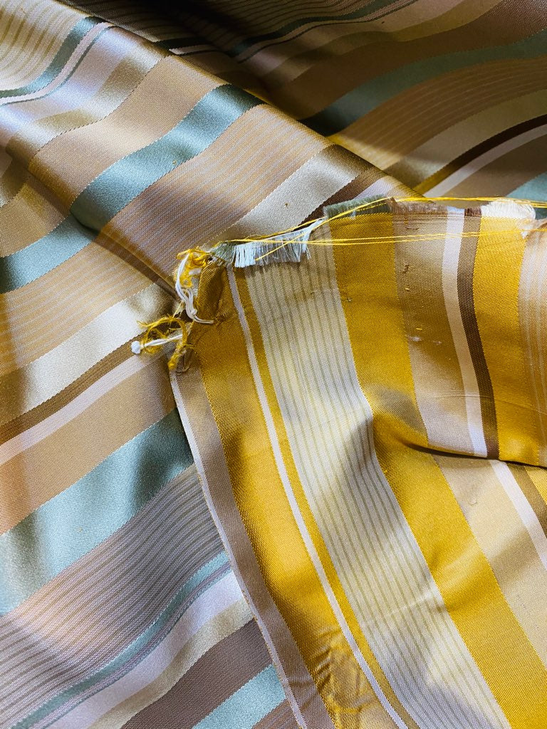 NEW Queen Genevieve 100% Silk Taffeta Fabric with Satin Ribbon Stripes in Brown, Gold, and Turquoise Blue
