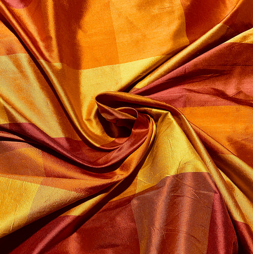 NEW Lady Harper 100% Silk Habotai Checkered Plaid Fabric in Red, Orange, and Yellow