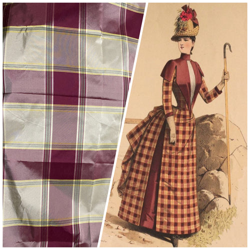 NEW Miss Dorothy 100% Silk Taffeta Plaid Tartan Fabric in White Cream and Burgundy Red