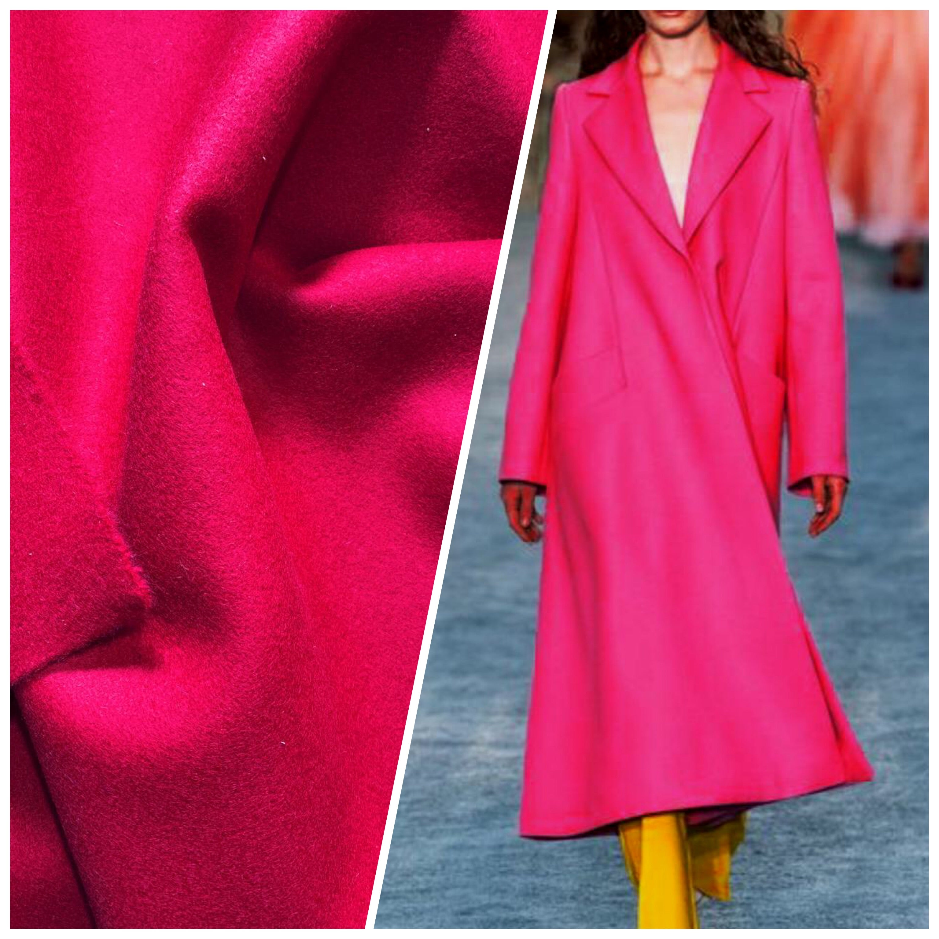 NEW Miss Elle Designer 100% Felted Wool Fuchsia Pink Coat Fabric
