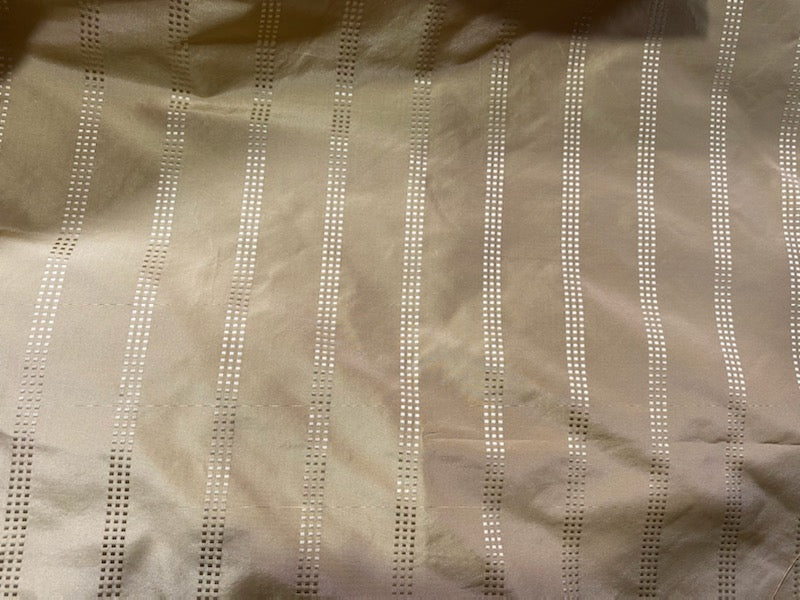 NEW! Lady Amalie 100% Silk Taffeta Fabric - Pale Gold with Gold Dot Stripes