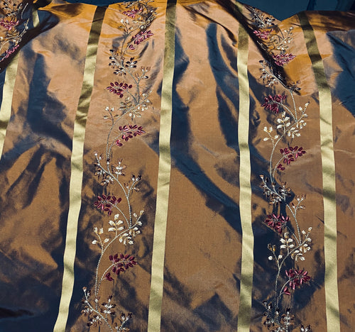 NEW Lady Lana 100% Silk Taffeta Fabric Copper with Navy Iridescence Gold Satin Ribbon Stripes and Velvet Floral Vine Embroidery