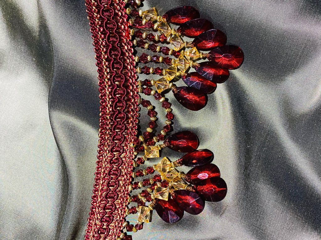 NEW! Queen Cassandra Ruby Red & Gold Beaded Trim