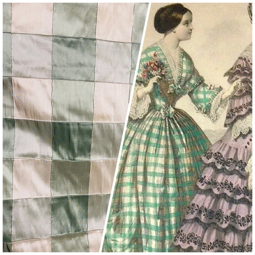 NEW Lady Tabitha 100% Silk Checkered Plaid Dupioni Fabric Green and Cream with Pintuck Detail