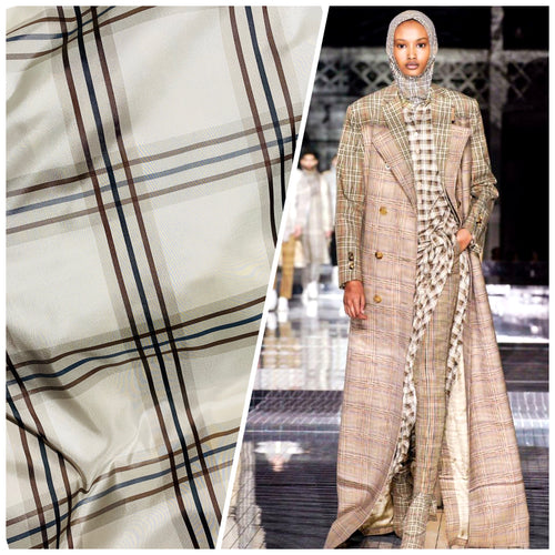 NEW Lady Lucy 100% Silk Taffeta Fabric Ivory Brown Tartan Plaid