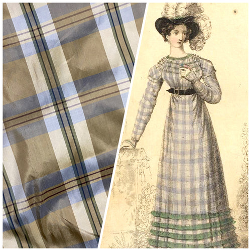 NEW Baroness Winifred 100% Silk Dupioni Taupe with Duck Egg Blue Plaid Tartan Fabric
