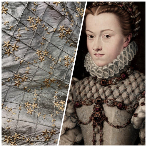 NEW Queen Elisabeth 100% Silk Dupioni Pewter Pintuck Fabric with Gold Floral Embroidery
