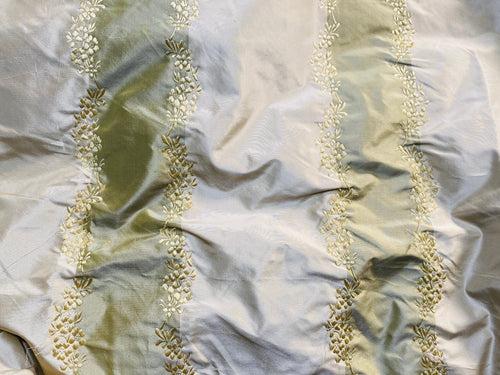 NEW Lady Kristen 100% Silk Taffeta with Embroidery Floral and Stripes Motif in Icy Pistachio Green and Champagne