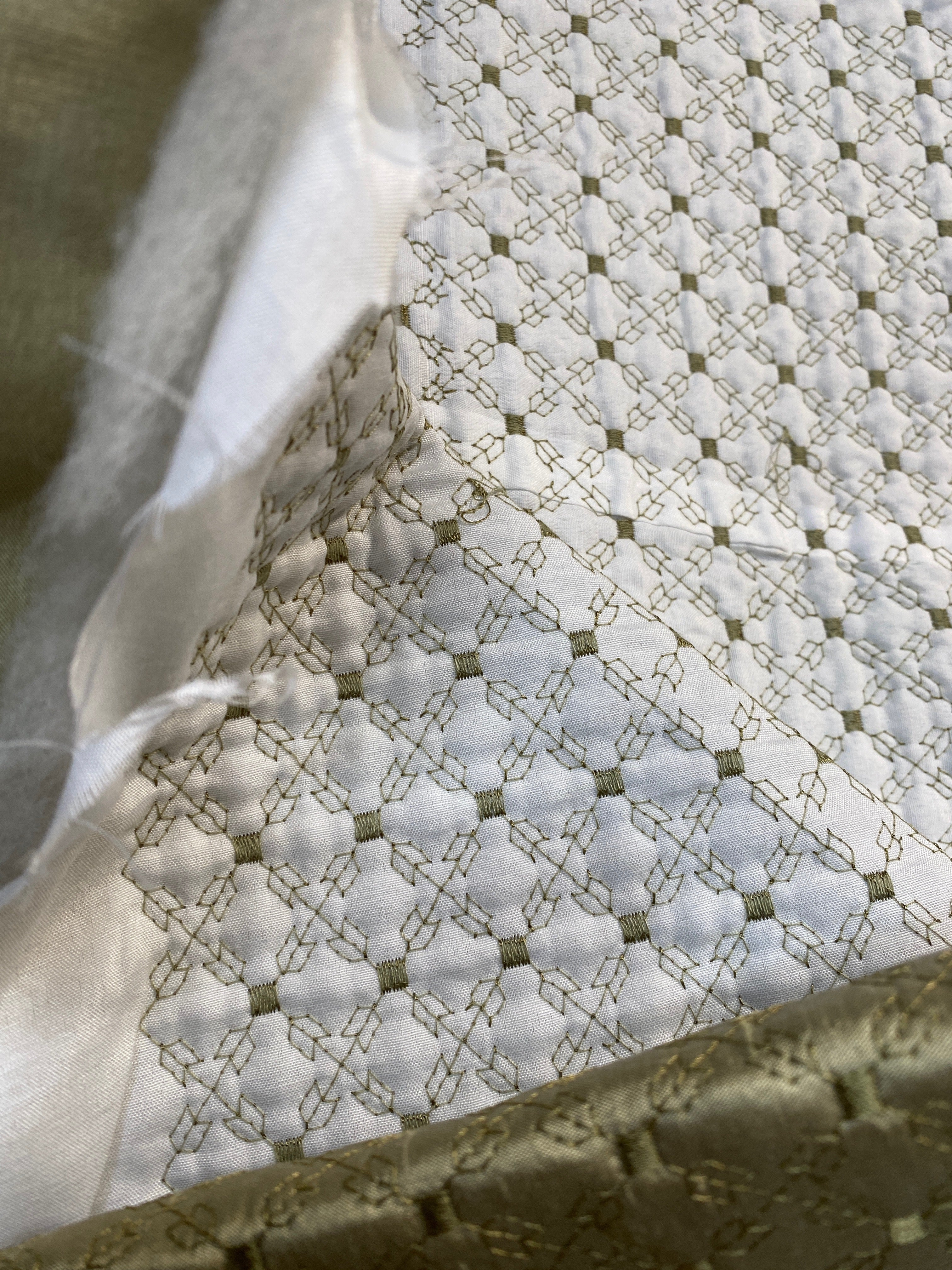 NEW Princess Amy 100% Silk Taffeta Quilted Petticoat Fabric with Cotton Batting in Dusty Pistachio Green