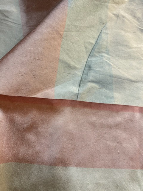 NEW Lady Ann 100% Silk Dupioni French Pastel Stripes Fabric in Icy Pink, Blue, and Champagne