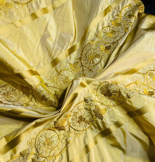 NEW Duchess Jezebel 100% Silk Taffeta Embroidered Scroll Stripe Floral Motif Icy Butter Yellow
