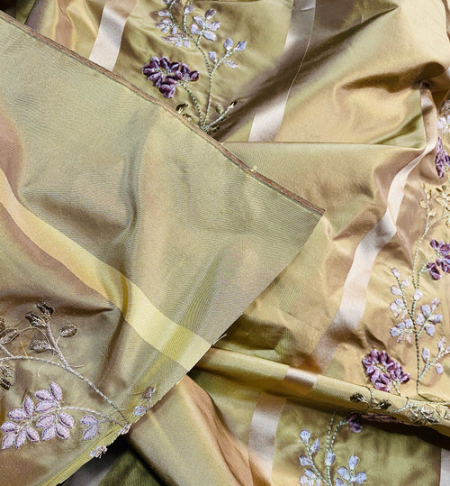 NEW Lady Lana 100% Silk Taffeta Ribbon Stripes with Embroidered Velvet Gold & Lavender Floral Motif Iridescent Fabric