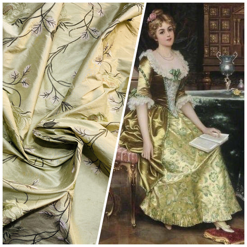 NEW Duchess Audrey 100% Silk Dupioni Embroidered Floral Motif Fabric Icy Pistachio Green