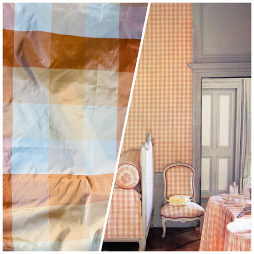 NEW Lady Melissa 100% Silk Taffeta Plaid Tartan Checkered Fabric Tone on Tone Peach