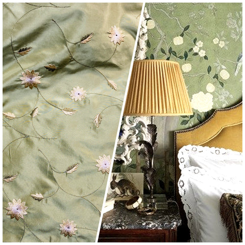 NEW Lady Eva 100% Silk Taffeta with Embroidered Floral Motif Fabric in Dusty Pistachio Green
