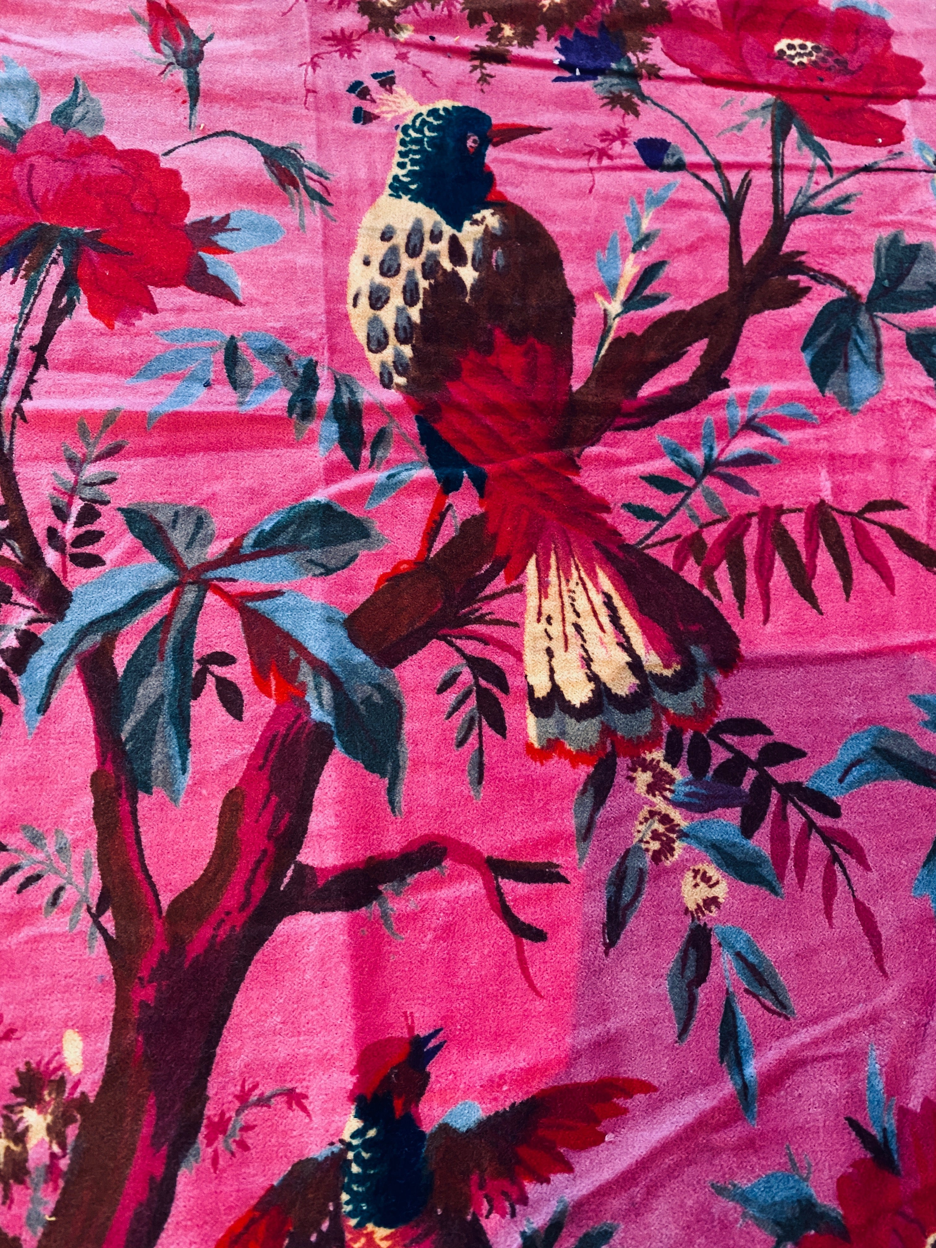 NEW Queen Carina 100% Cotton Velvet Fabric Paradise Floral and Bird Motif in Magenta