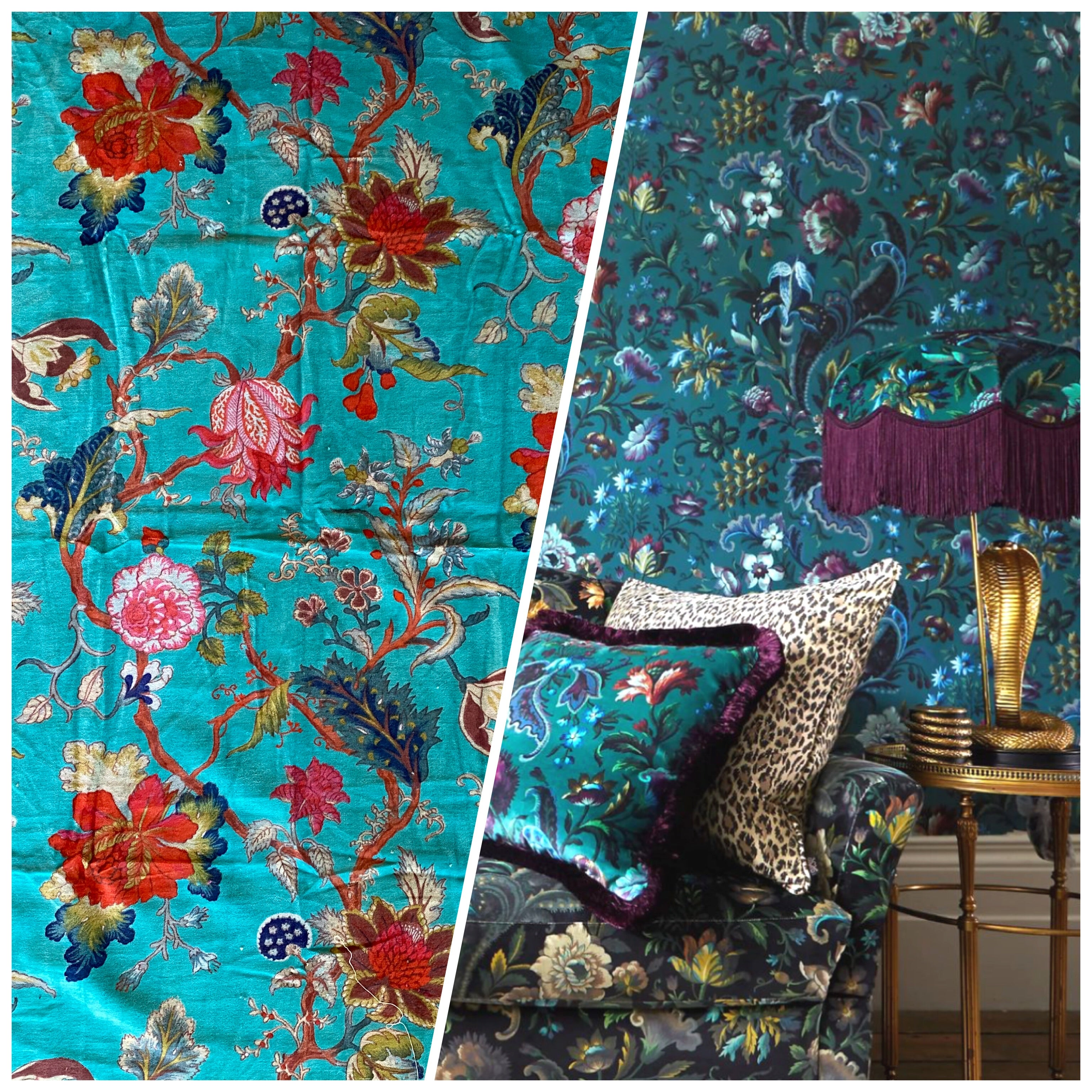 NEW Queen Adelina 100% Cotton Velvet Fabric Paradise Floral and Bird Motif in Turquoise