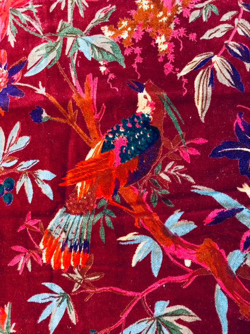NEW Queen Carina 100% Cotton Velvet Fabric Paradise Floral and Bird Motif in Merlot