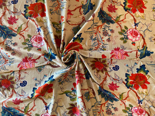 NEW Queen Adelina 100% Cotton Velvet Fabric Paradise Floral and Bird Motif in Light Taupe