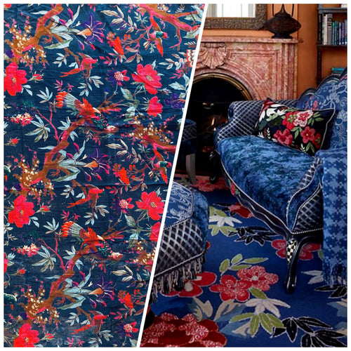 NEW Queen Carina 100% Cotton Velvet Fabric Paradise Floral and Bird Motif in Blue