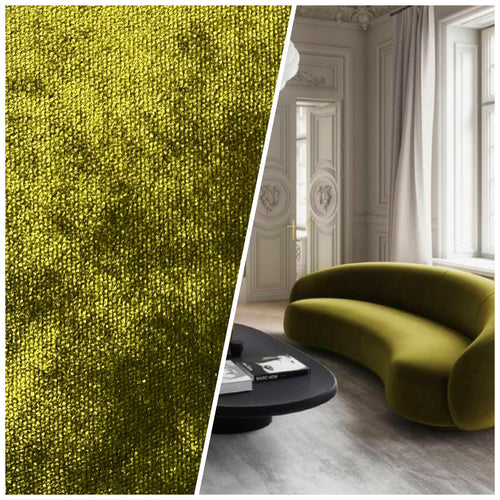 NEW Sir Lionel Designer Made In Belgium Upholstery Velvet Fabric Green Yellow