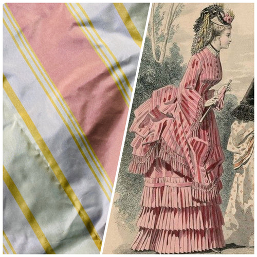 NEW Lady Matilda 100% Silk Taffeta Striped Fabric in Muted Red, Mustard Yellow, and White