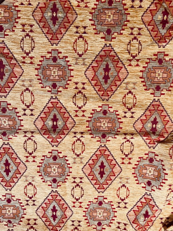 NEW Princess Tayanna Velvet Chenille Upholstery Fabric in Red & Beige