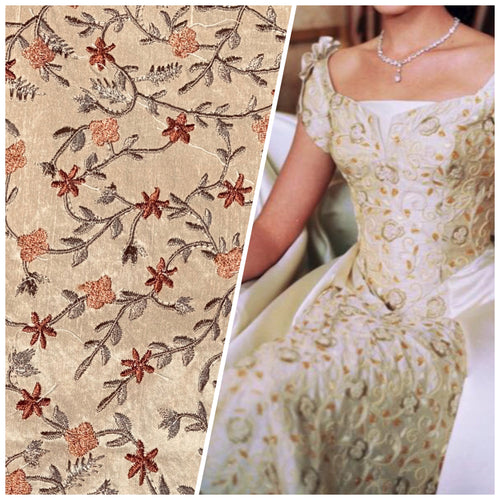 NEW Princess Esme 100% Silk Dupioni Taffeta Embroidered Fabric Floral Penny Copper