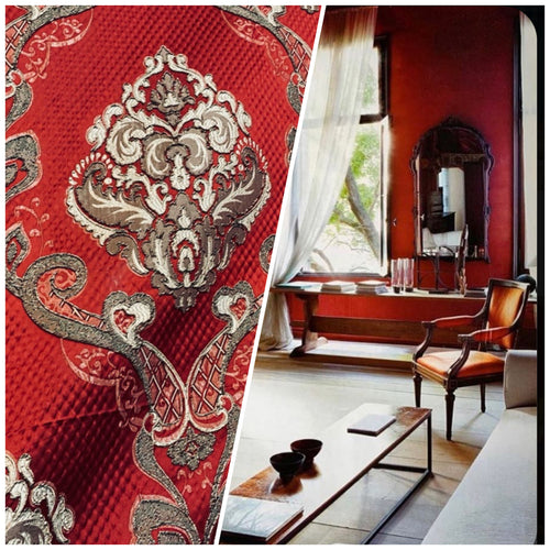 NEW King Eliot Italian Brocade Damask Satin Red Upholstery Neoclassical Fabric