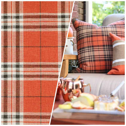 NEW Count Nathaniel Plaid Tartan Upholstery Fabric in Orange