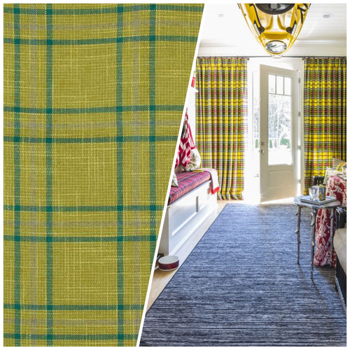 NEW Sir Adrian Plaid Tartan Upholstery Fabric in Chartreuse