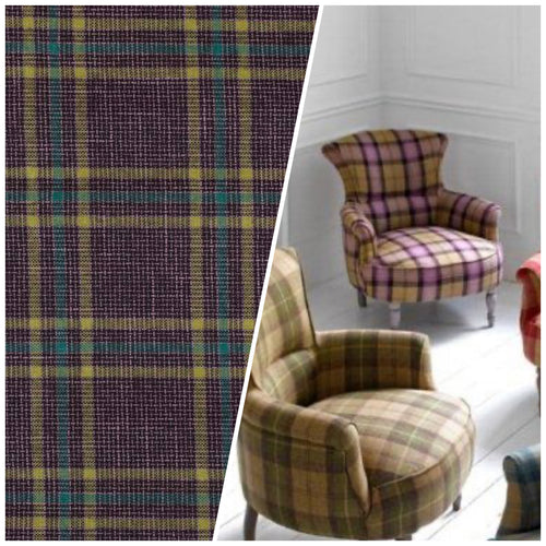 NEW Sir Adrian Plaid Tartan Upholstery Fabric in Grape Purple