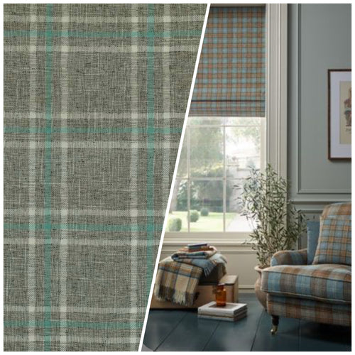 NEW Sir Adrian Plaid Tartan Upholstery Fabric in Gray