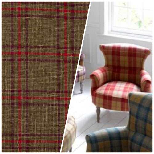 NEW Sir Adrian Plaid Tartan Upholstery Fabric in Brown