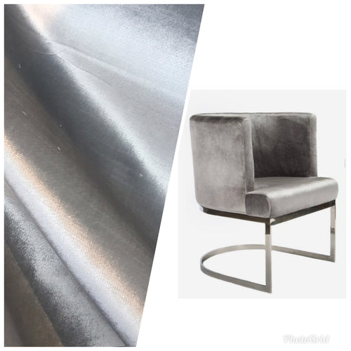 NEW Designer Made In Belgium Upholstery Velvet Fabric- Silver