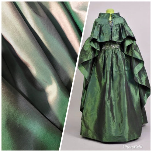 NEW Designer 100% Silk Taffeta - Solid Green with Pink Iridescence
