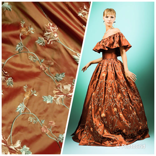 SALE! 100% Silk Taffeta Fabric With Floral Embroidery Orange Red Iridescent