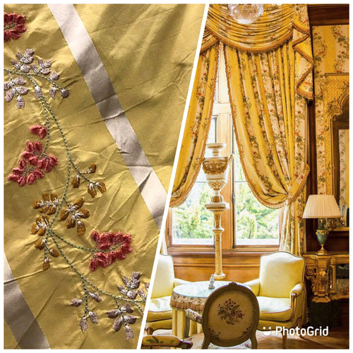 Lady Lana 100% Silk Taffeta Interior Design Fabric Embroidery Antique Mustard Yellow