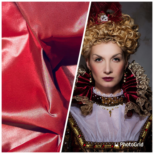 NEW Designer 100% Silk Taffeta - Frosty Red Iridescent