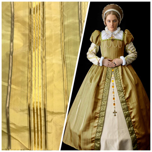 NEW Queen Maya Designer 100% Silk Taffeta Gold Yellow Stripes