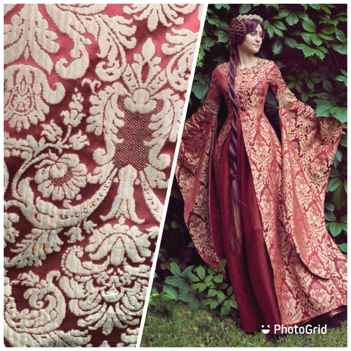 SALE! 100% Silk Taffeta Damask Interior Design Fabric - Rouge Red