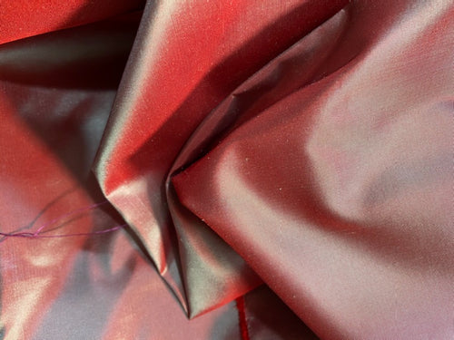 NEW 100% Silk Taffeta Fabric - Solid Frosty Red with Icy Blue Iridescence