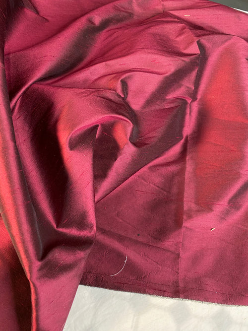 NEW 100% Silk Dupioni - Solid Dark Red Fabric