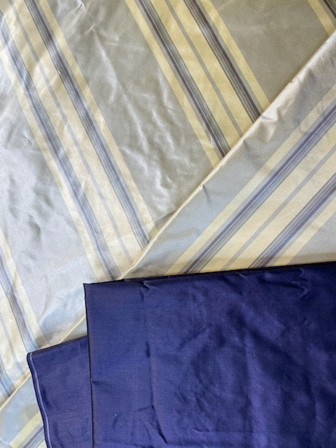 NEW Lady Amaranthe 100% Silk Taffeta Yellow & Purple Stripes