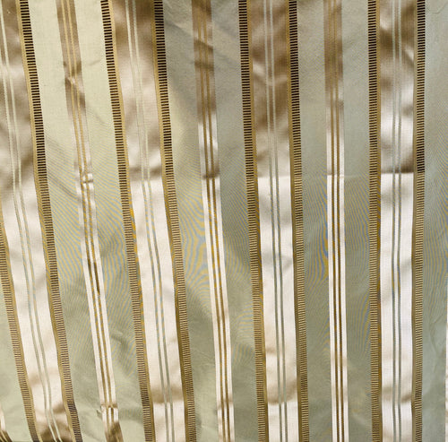 NEW 100% Silk Taffeta Ribbon Stripes Fabric - Pistachio Green and Gold